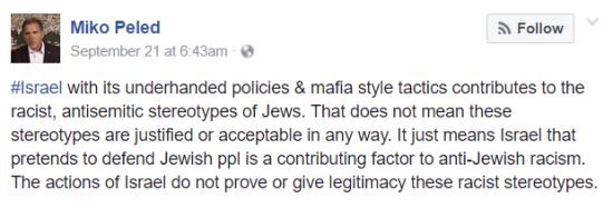 Miko Peled Facebook Response re Anti Semitism JVP Israel Contributes