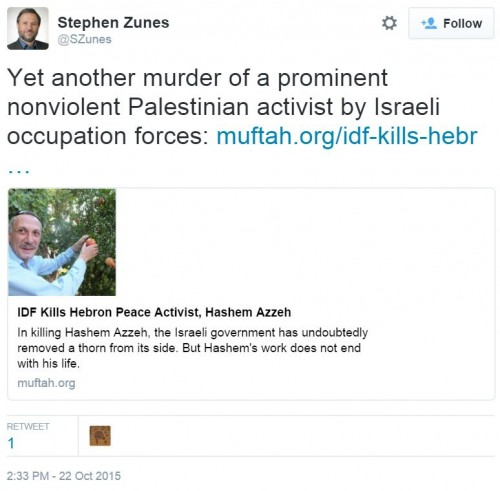 Hashem Azzeh Stephen Zunes Twitter Murder Peace Activist