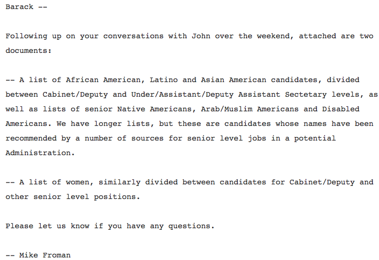 Froman Podesta Obama Email Diversity