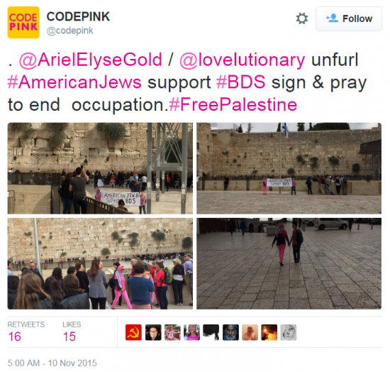 Ariel Gold Western Wall Protest Code Pink Tweet Nov 10 2015 5 a.m.