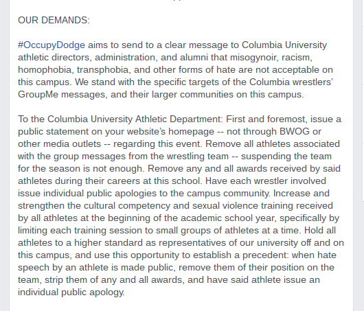 columbia-wrestling-protest-facebook-page-our-demands