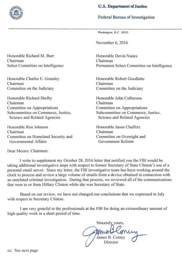 fbi-comey-letter-to-congress-november-6-2016-no-prosecution