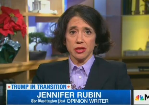 "Jennifer Rubin is the Washington Post's ""right"" columnist, though many  people would dispute that designation."