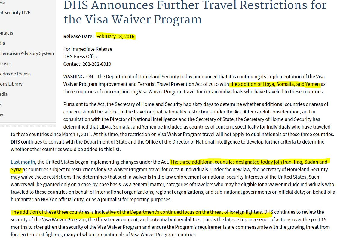 Visa Waiver Program And Terrorist Travel Protection Act Of