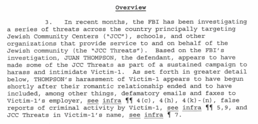 https://www.scribd.com/document/340835647/US-v-Thompson-Criminal-Complaint-Jewish-Community-Bomb-Threats
