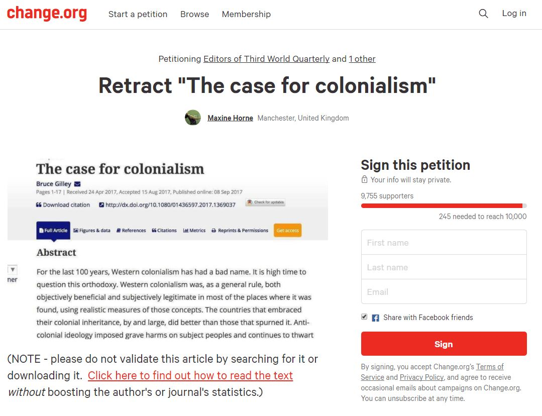 https://www.change.org/p/editors-of-the-third-world-quarterly-retract-the-case-for-colonialism