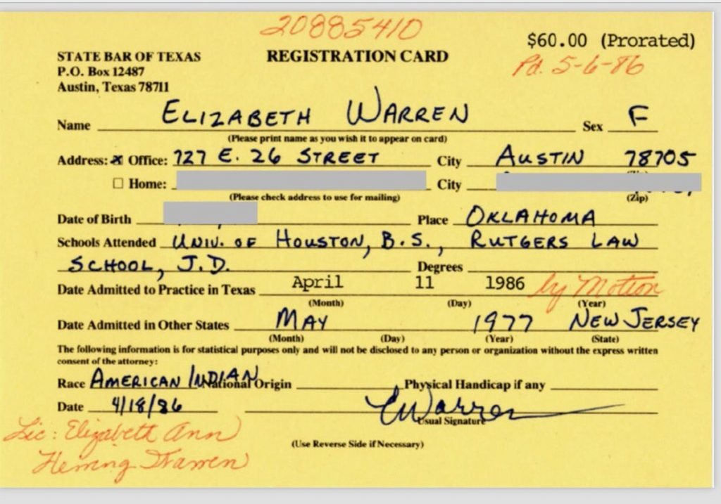 https://www.washingtonpost.com/politics/elizabeth-warren-apologizes-for-calling-herself-native-american/2019/02/05/1627df76-2962-11e9-984d-9b8fba003e81_story.html?utm_term=.fcc05eafbd80