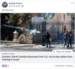 Nadiah Porter, Israel Resolution