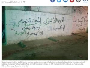 https://www.timesofisrael.com/jewish-worshipers-find-swastikas-defacing-holy-site-in-palestinian-village/