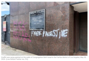 https://www.timesofisrael.com/synagogues-in-los-angeles-and-richmond-vandalized-during-protests/