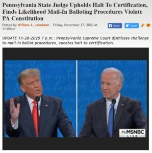 https://legalinsurrection.com/2020/11/pennsylvania-state-judge-halts-certification-finds-likelihood-mail-in-balloting-procedures-violate-pa-constitution/